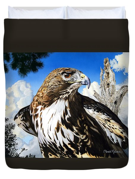 Da141 Red Tailed Hawk By Daniel Adams Duvet Cover