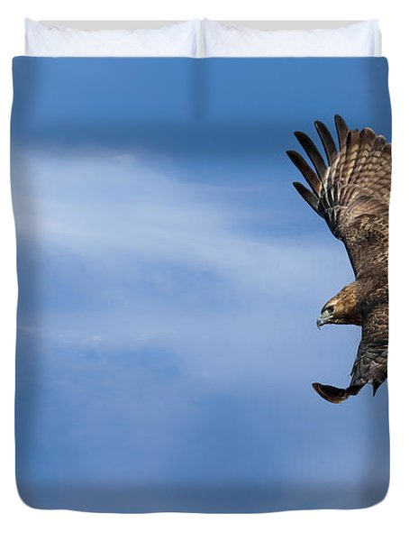 Red Tailed Hawk Soaring Duvet Cover by Bill Wakeley