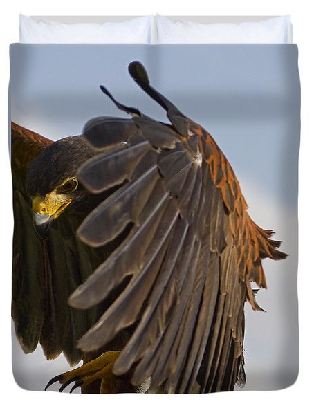 Duvet Cover featuring the photograph Red-tailed Tallons by J L Woody Wooden
