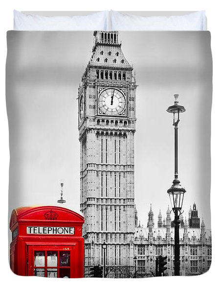 Red Telephone Booth And Big Ben In London Duvet Cover