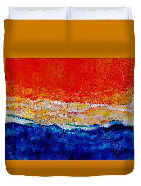 Red Tide Effect Duvet Cover by Jean Cormier