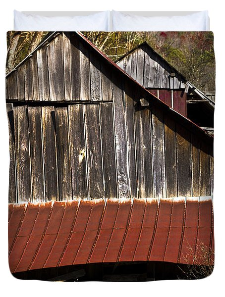 Red Tin Roof Duvet Cover by Debra and Dave Vanderlaan