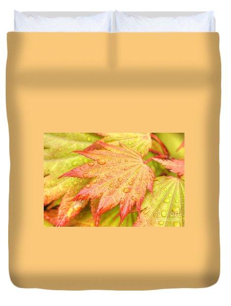 Red Tip Leaf Duvet Cover