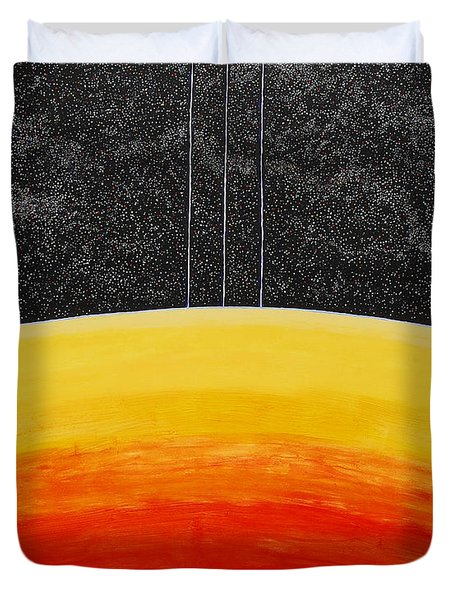 Red To Yellow Spacescape Duvet Cover