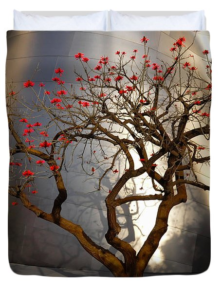 Duvet Cover featuring the photograph Red Tree  by Gandz Photography