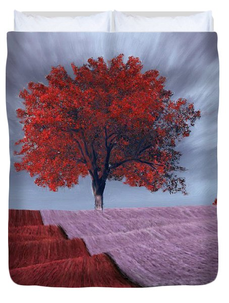 Duvet Cover featuring the painting Red Tree In A Field by Bruce Nutting