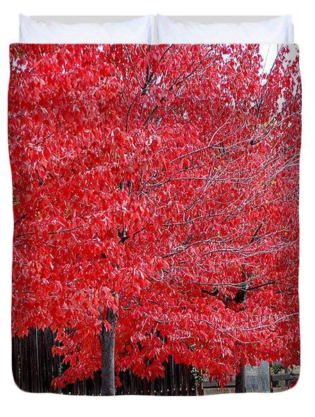 Red Tree Line Duvet Cover