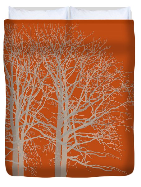 Red Trees Autumn Duvet Cover by Kandy Hurley