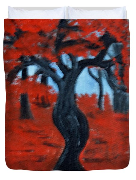 Red Trees Duvet Cover