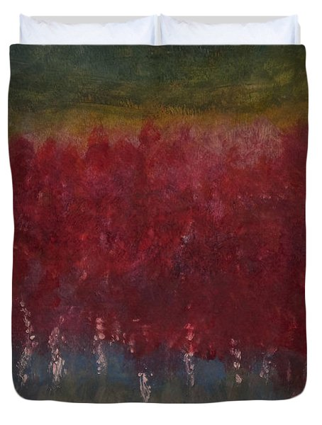 Red Trees Watercolor Duvet Cover