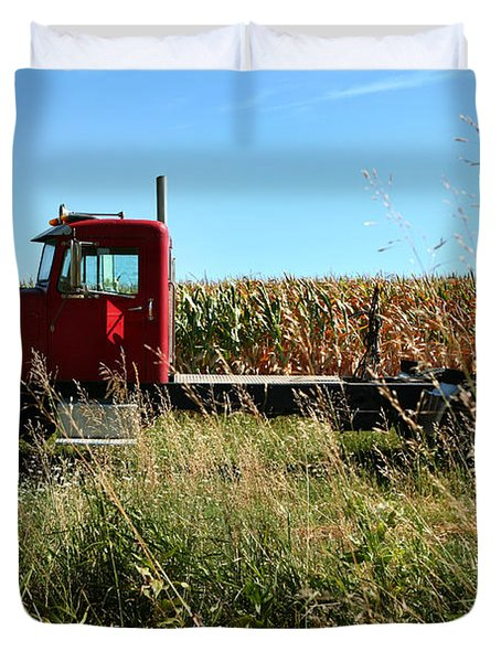 Red Truck In A Corn Field Duvet Cover by Lon Casler Bixby