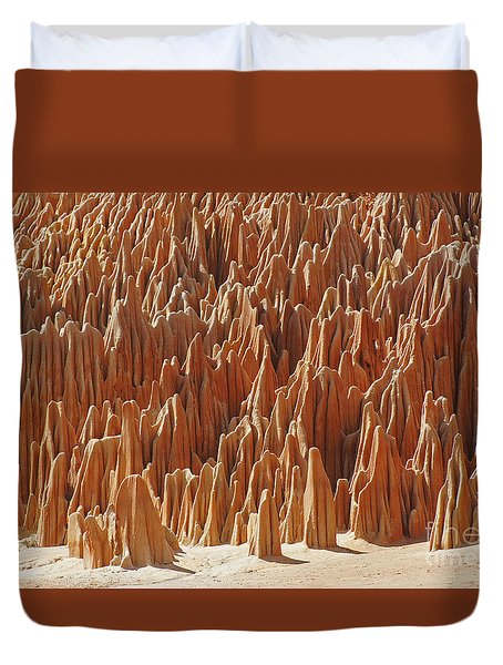 red Tsingy Madagascar 1 Duvet Cover by Rudi Prott