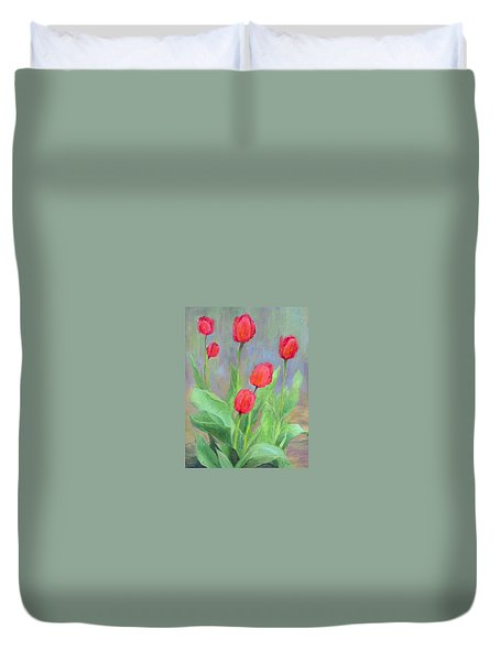 Red Tulips Colorful Painting Of Flowers By K. Joann Russell Duvet Cover