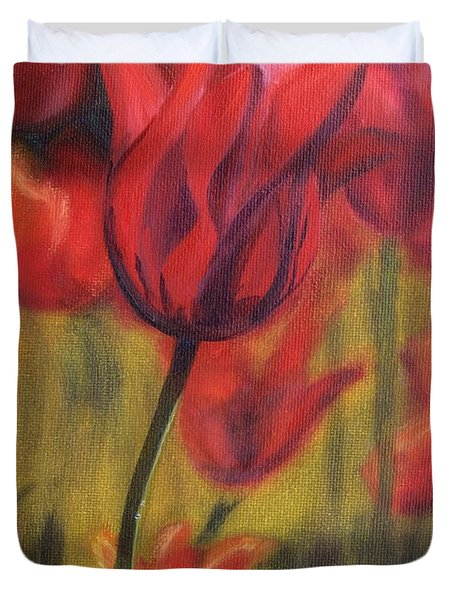 Duvet Cover featuring the painting Red Tulips by Donna Tuten