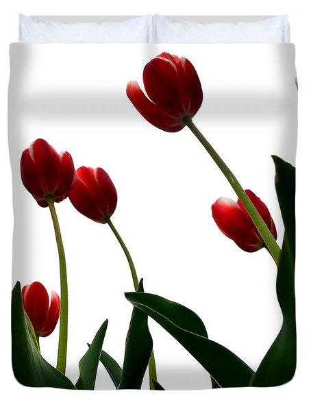 Red Tulips From The Bottom Up Vl Duvet Cover by Michelle Calkins