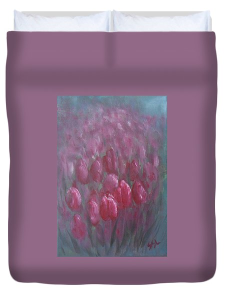 Duvet Cover featuring the painting Red Tulips by Jane  See