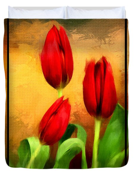 Red Tulips Triptych Duvet Cover by Lourry Legarde