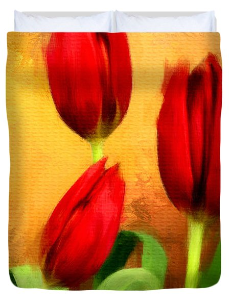 Red Tulips Triptych Section 2 Duvet Cover by Lourry Legarde