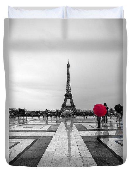 Red Umbrella Duvet Cover