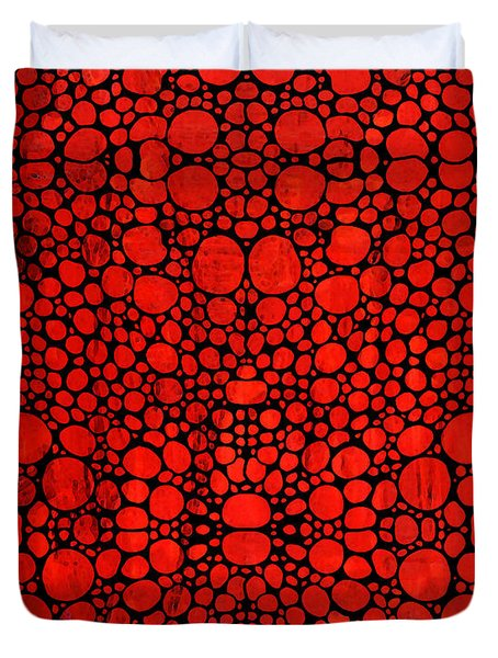 Red Valley - Abstract Landscape Stone Rock'd Art Duvet Cover by Sharon Cummings