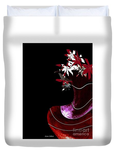 Red Vase Duvet Cover