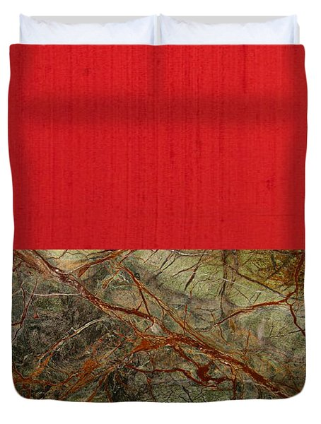 Red Veins Duvet Cover by Margaret Ivory