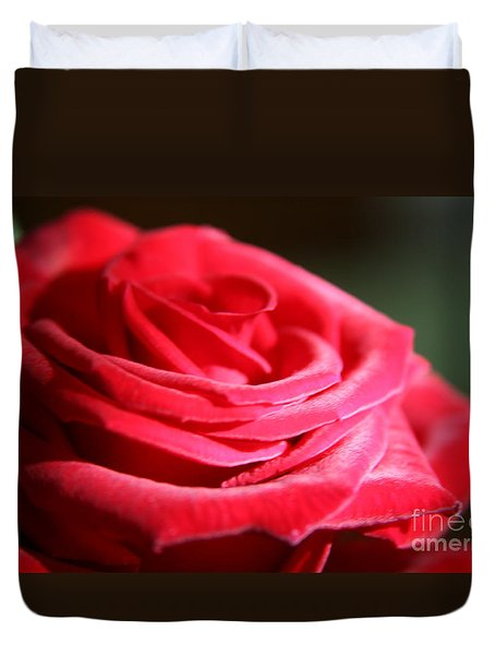 Red Velvet Rose By Morning Light  Duvet Cover