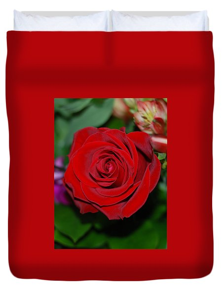 Red Velvet Rose Duvet Cover by Connie Fox