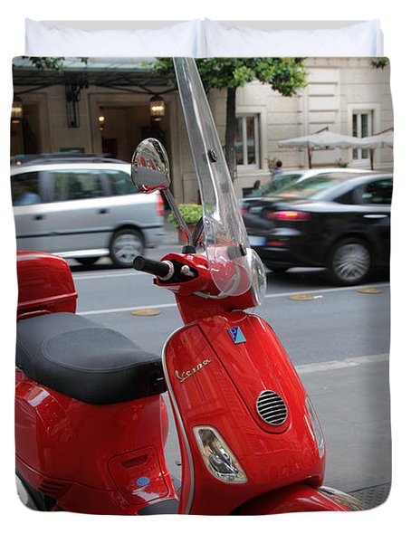 Red Vespa Duvet Cover by Inge Johnsson