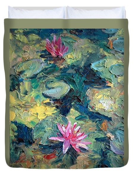 Duvet Cover featuring the painting Red Waterlily  by Jieming Wang
