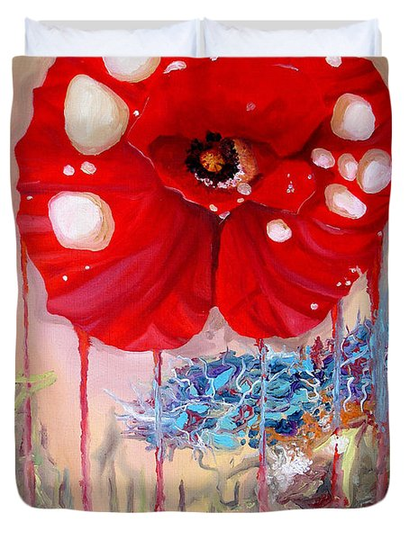 Duvet Cover featuring the painting Red Weed Red Poppy by Daniel Janda