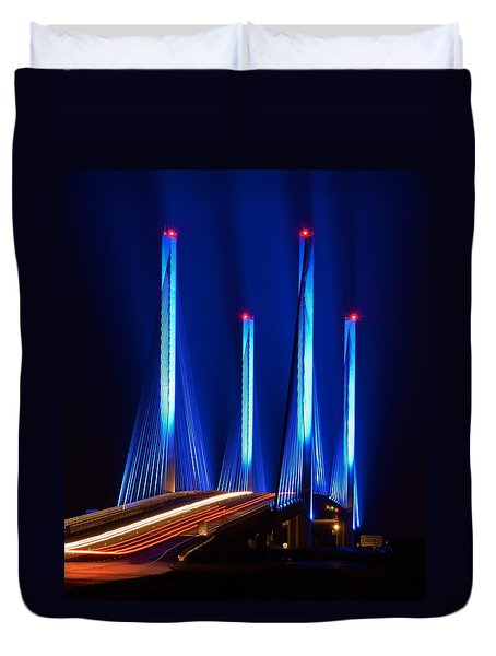 Indian River Inlet Bridge As Seen North Of Bethany Beach In This Award Winning Perspective Photo Duvet Cover