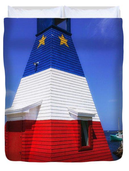 Red White And Blue Lighthouse Duvet Cover