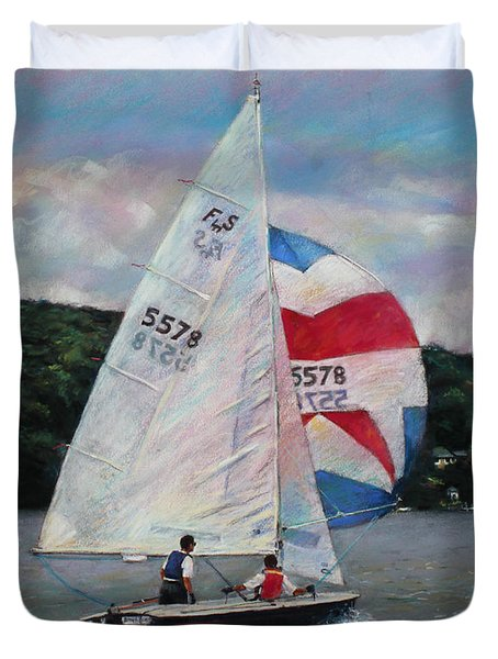 Duvet Cover featuring the drawing Red White And Blue Sailboat by Viola El