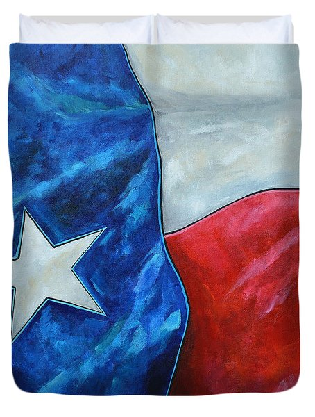 Red White And Texas Duvet Cover