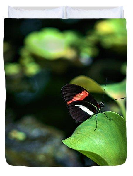 Red White Black Butterfly Duvet Cover