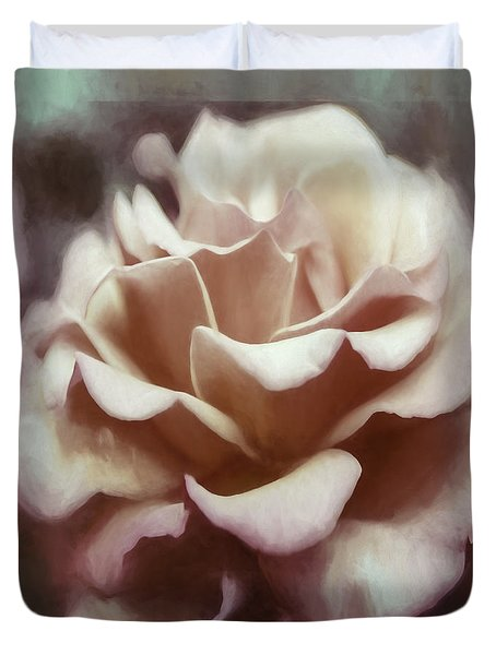Duvet Cover featuring the photograph Red White Rose by Jean OKeeffe Macro Abundance Art