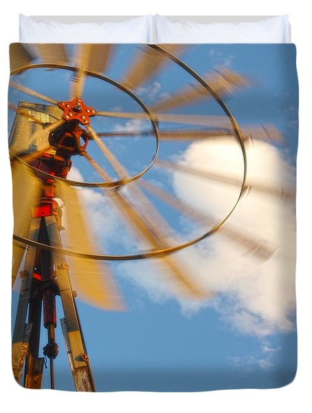 Red Wind Windmill Duvet Cover