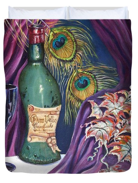 Red Wine And Peacock Feathers Duvet Cover by Caroline Street