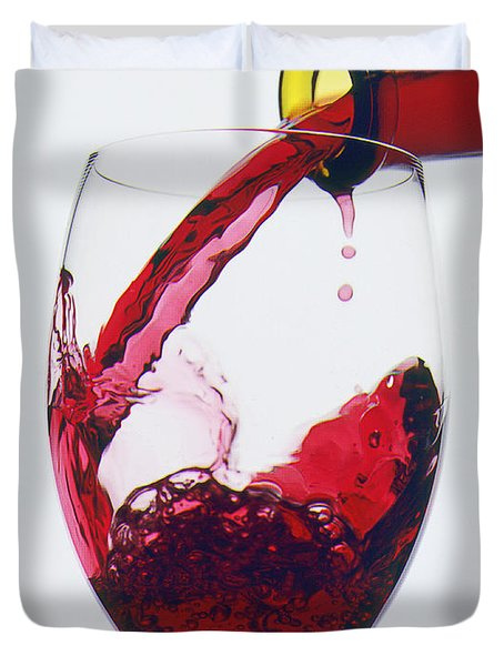 Red Wine Being Poured  Duvet Cover