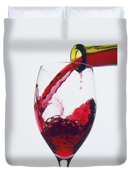 Red Wine Being Poured  Duvet Cover by Garry Gay