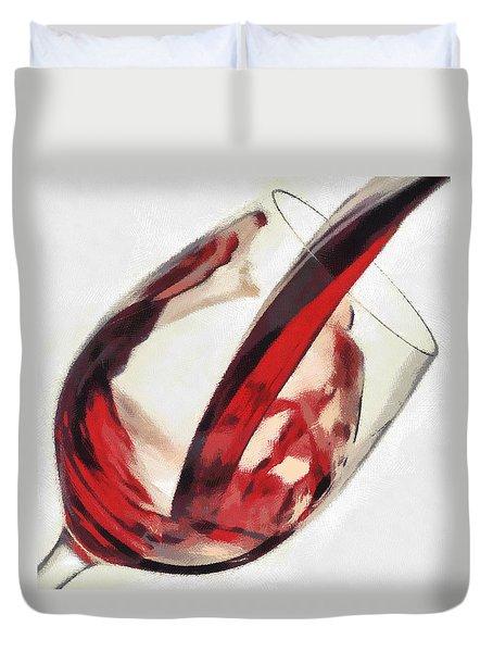 Red Wine  Into Wineglass Splash Duvet Cover