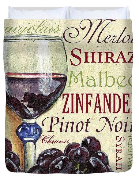 Red Wine Text Duvet Cover by Debbie DeWitt