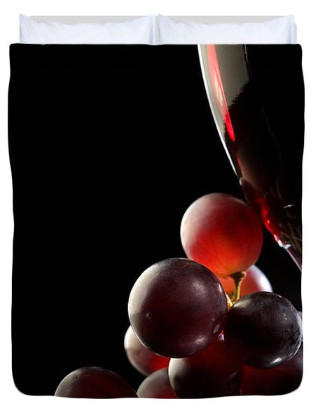 Red Wine With Grapes Duvet Cover