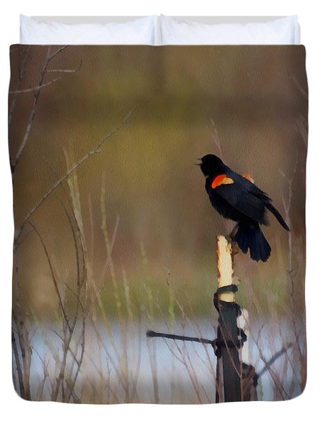 Red Winged Blackbird 2 Duvet Cover by Ernie Echols