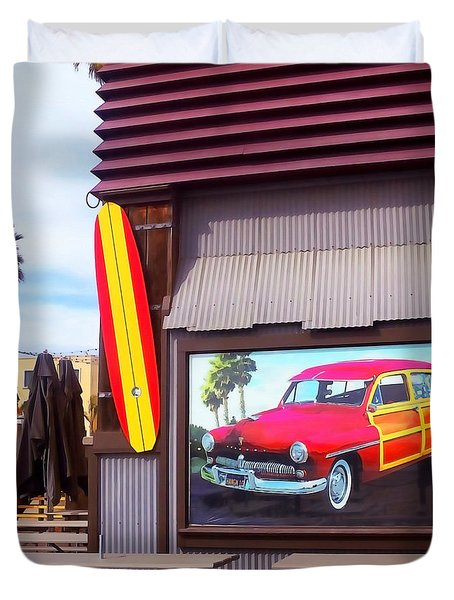 Duvet Cover featuring the photograph Red Woodie by Art Block Collections
