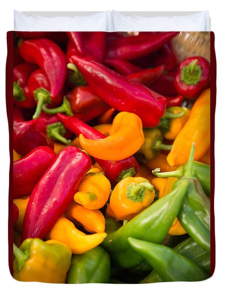 Red Yellow Green Peppers Together Duvet Cover