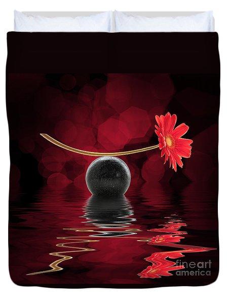 Red Zen Gerbera Duvet Cover