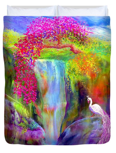 Waterfall And White Peacock, Redbud Falls Duvet Cover