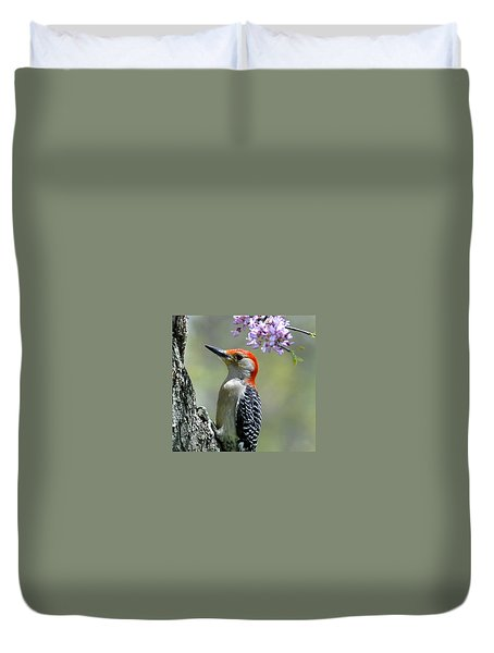 Redbud With Woodpecker Duvet Cover